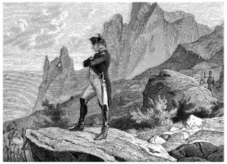 napoleon bonaparte: Napoleon at St. Helena, vintage engraved illustration. History of France – 1885.