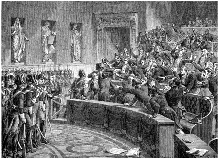 protest man: Manuel expelled from the chamber, vintage engraved illustration. History of France – 1885