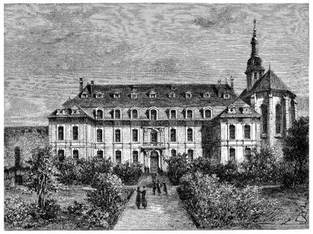 聖 Acheul 大学のヴィンテージには、図が刻まれています。フランス – 1885年の歴史。