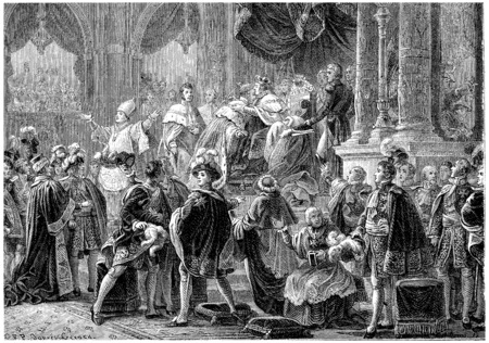 Coronation of Charles X, vintage engraved illustration. History of France – 1885.