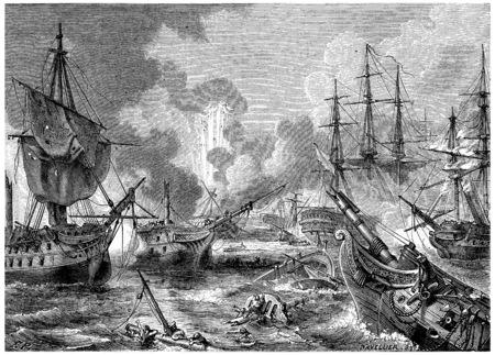 a battleship: Battle of Navarino, vintage engraved illustration. History of France – 1885.