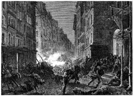 shootout: Shootouts in the Rue Saint-Denis, vintage engraved illustration. History of France – 1885.