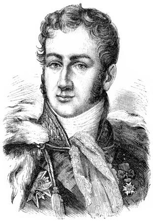 statesman: Polignac, vintage engraved illustration. History of France – 1885. Stock Photo