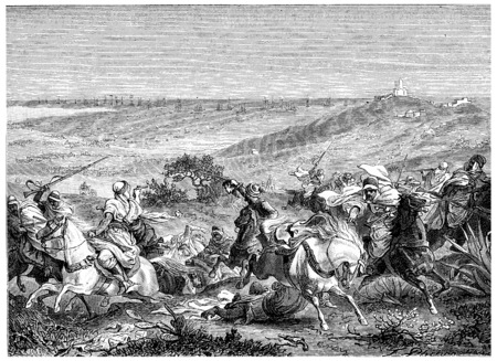 landing: Landing of the French army in Sidi Fredj, vintage engraved illustration. History of France – 1885. Stock Photo