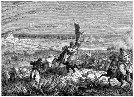 Battle of Staoueli, vintage engraved illustration. History of France – 1885. Banco de Imagens