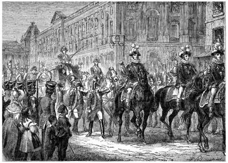 monarchy: The last pump of the Monarchy, The king went to Notre Dame for the Te Deum, vintage engraved illustration. History of France – 1885.