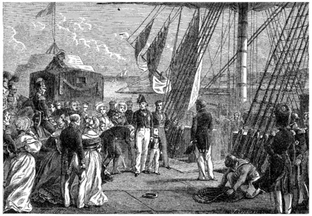 Charles X sailed from Cherbourg, vintage engraved illustration. History of France – 1885. illustration