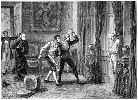 demise: Death of the Prince of Conde, vintage engraved illustration. History of France – 1885.