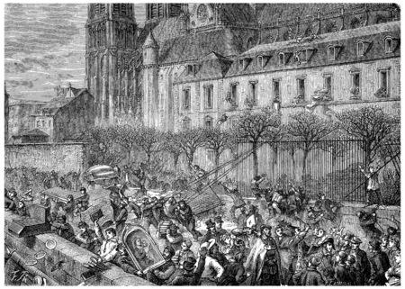 Bag of the Archdiocese, vintage engraved illustration. History of France – 1885.