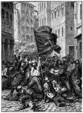 insurrection: Insurrection of Lyon, vintage engraved illustration. History of France – 1885. Stock Photo