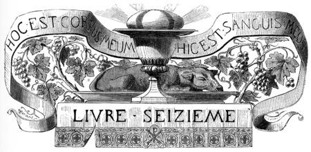 supper: Eucharistic Supper, vintage engraved illustration.