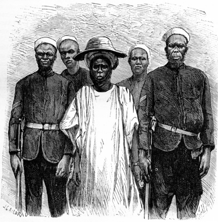 african tribe: Hausa incurred by the international association, vintage engraved illustration. Journal des Voyage, Travel Journal, (1880-81).