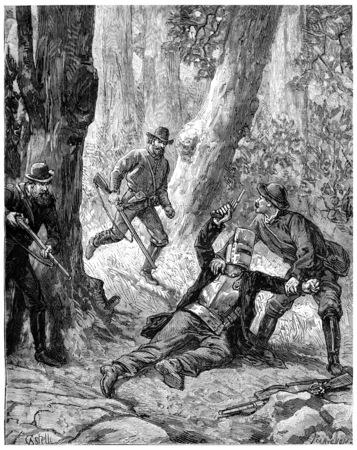struck: Drummers bushes in Australia, A bullet had struck the bandit knee, vintage engraved illustration. Journal des Voyage, Travel Journal, (1880-81).