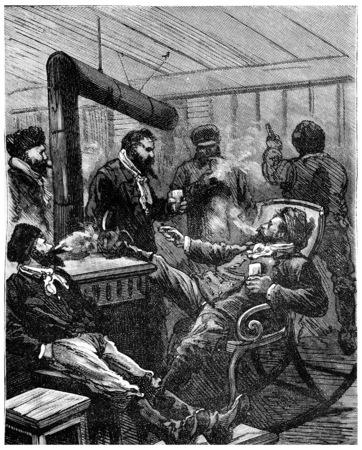 heir: Adventures of an heir worldwide, The four men were enjoying a large grog, vintage engraved illustration. Journal des Voyage, Travel Journal, (1880-81).