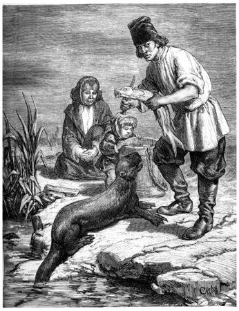 fischerei: Jagd und Fischerei in den Regionen Nordamerika und dem Alaska Territorium, Jahrgang gravierte Darstellung. Journal des Voyage, Reisetagebuch, (1880-1881). Lizenzfreie Bilder