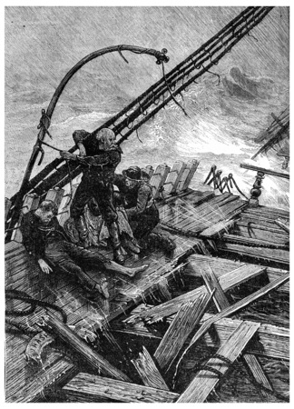 Sinking in the Southern Ocean, Alone on board, vintage engraved illustration. Journal des Voyage, Travel Journal, (1880-81).