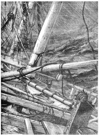 sinking: Sinking in the Southern Ocean, Alone on board, vintage engraved illustration. Journal des Voyage, Travel Journal, (1880-81).
