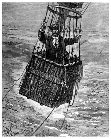 heir: Adventures of an heir worldwide, He put his head through the ropes, vintage engraved illustration. Journal des Voyage, Travel Journal, (1880-81).