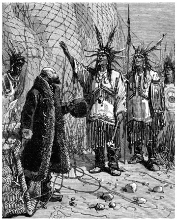The Indian came forward and said: My brother is a great leader, vintage engraved illustration. Journal des Voyage, Travel Journal, (1880-81). Banco de Imagens