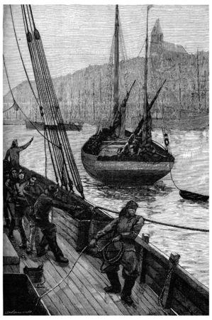 herring: Apparatus for herring fishing, vintage engraved illustration. Journal des Voyage, Travel Journal, (1880-81).