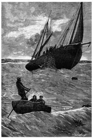 Herring fishing. Lip of the net, vintage engraved illustration. Journal des Voyage, Travel Journal, (1880-81).