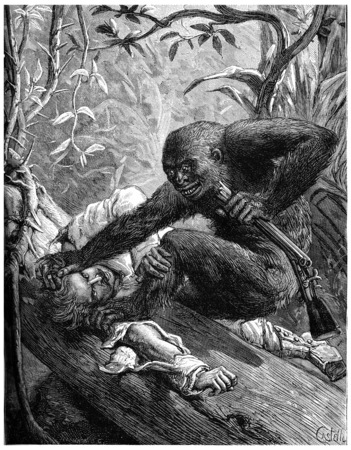 antique rifle: The eyes of the gorilla, bloodshot plunged into those of his Victims, vintage engraved illustration. Journal des Voyage, Travel Journal, (1880-81). Stock Photo