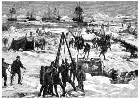 wintering: Wintering in polar ice, vintage engraved illustration. Journal des Voyage, Travel Journal, (1880-81).
