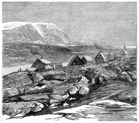 デンマークの植民地 Godhavn、ヴィンテージには図が刻まれています。ジャーナル デ航海、トラベル ジャーナル、(1880年-81)。 写真素材