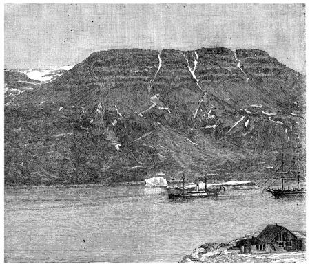 Thetis and bear passing the island of Disko. Death of sailor Ellisen, vintage engraved illustration. Journal des Voyage, Travel Journal, (1880-81). illustration