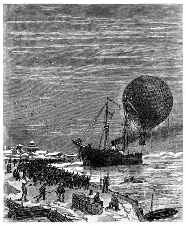 wharf: Jacques left the wharf Sitka, vintage engraved illustration. Journal des Voyage, Travel Journal, (1880-81).