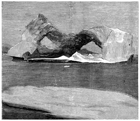 smith: Ice-shaped arches in Smith Sound, vintage engraved illustration. Journal des Voyage, Travel Journal, (1880-81). Stock Photo