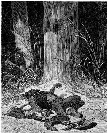 파 수 윌리엄 Dietz 우드, 빈티지 새겨진 그림에서 죽음에 굶 었 다. Journal des Voyage, 여행 일지, (1880-81).