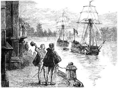 thames: The expedition Frobisher down the Thames, vintage engraved illustration. Journal des Voyage, Travel Journal, (1880-81).
