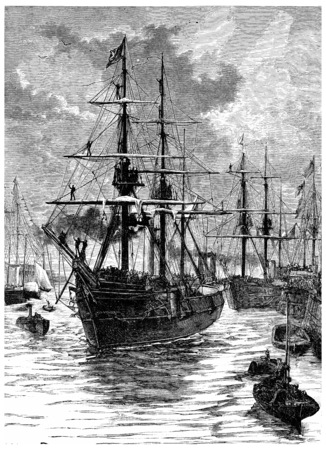discovery channel: Art and Discovery leaving the harbor of Portsmouth, vintage engraved illustration. Journal des Voyage, Travel Journal, (1880-81).