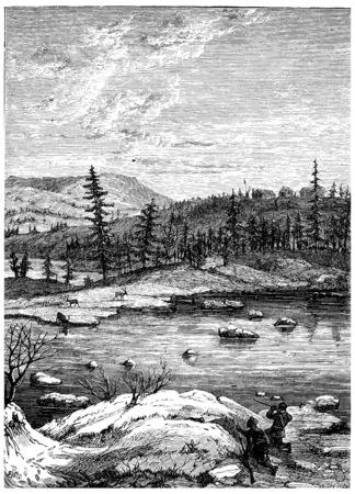 Fort Enterprise, vintage engraved illustration. Journal des Voyage, Travel Journal, (1880-81).