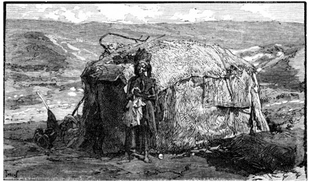 africa antique: Dwelling nomadic Somalis near Cape Guardafui, vintage engraved illustration. Journal des Voyage, Travel Journal, (1880-81). Stock Photo