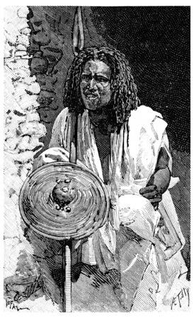 warriors: A Somali warrior, vintage engraved illustration. Journal des Voyage, Travel Journal, (1880-81).