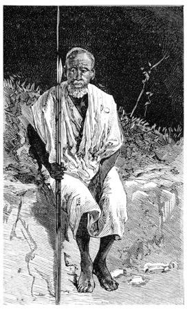 somali: A Somali warrior, vintage engraved illustration. Journal des Voyage, Travel Journal, (1880-81).