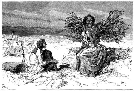african tribe: Somali women from Cape Guardafui, vintage engraved illustration. Journal des Voyage, Travel Journal, (1880-81).