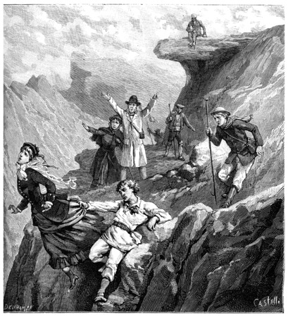 disaster: The disaster of Mount of the Cross, vintage engraved illustration. Journal des Voyage, Travel Journal, (1880-81). Stock Photo