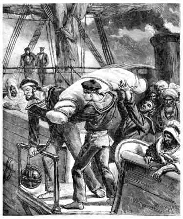 the thrown: Paris of Lake Tanganyika, Body thrown overboard in the cross of the Red Sea, vintage engraved illustration. Journal des Voyage, Travel Journal, (1880-81).