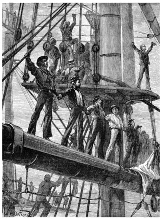 revolt: Revolt of the English sailors, On each ship they went to tackle, vintage engraved illustration. Journal des Voyage, Travel Journal, (1880-81).
