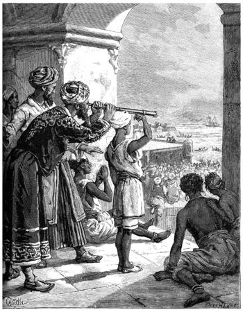 distinguished: Paris of Lake Tanganyika, From his palace, the sultan distinguished white smoke, vintage engraved illustration. Journal des Voyage, Travel Journal, (1880-81). Stock Photo