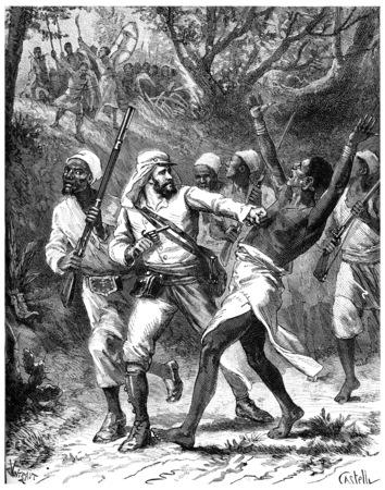 tanganyika: Paris of Lake Tanganyika, Courage make a gap! I exclaimed, vintage engraved illustration. Journal des Voyage, Travel Journal, (1880-81).