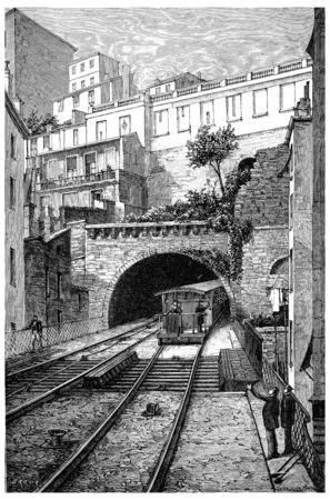 Railway track of Lyon Fourviere, vintage engraved illustration. Journal des Voyage, Travel Journal, (1880-81). Stock Photo
