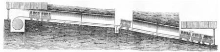 longitudinal: Longitudinal section of the Lyon-Fourviere inclined to Saint-Just plane, vintage engraved illustration. Journal des Voyage, Travel Journal, (1880-81). Stock Photo