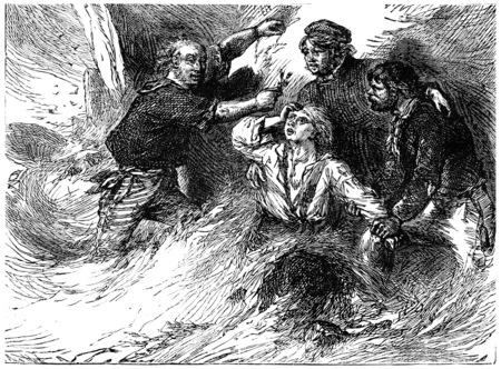 shipwreck: Shipwreck on the English side, The samphire, vintage engraved illustration. Journal des Voyage, Travel Journal, (1880-81). Stock Photo