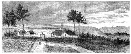 View of Franceville, vintage engraved illustration. Journal des Voyage, Travel Journal, (1880-81). Stock Photo