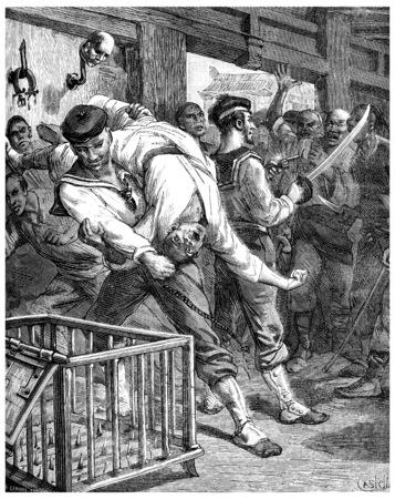 A visit to prisons in Shanghai, I threw myself and pulls alongside my brave sailor, vintage engraved illustration. Journal des Voyage, Travel Journal, (1880-81).