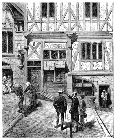parisian: The Tour de France a small Parisian, He stopped in front of several old houses, vintage engraved illustration. Journal des Voyage, Travel Journal, (1880-81).